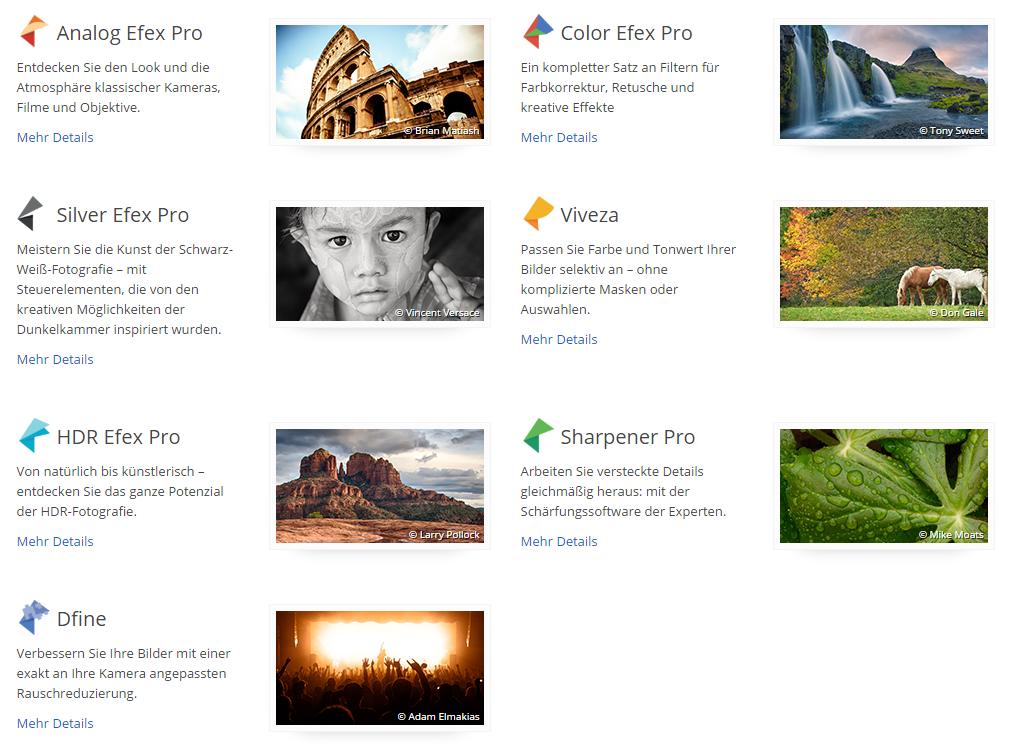 Übersicht der Nik Collection-Plugins (Quelle: Screenshot)